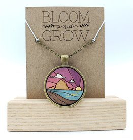 Bloom & Grow Designs Haystack Rock at Sunset Necklace, Painted Wood