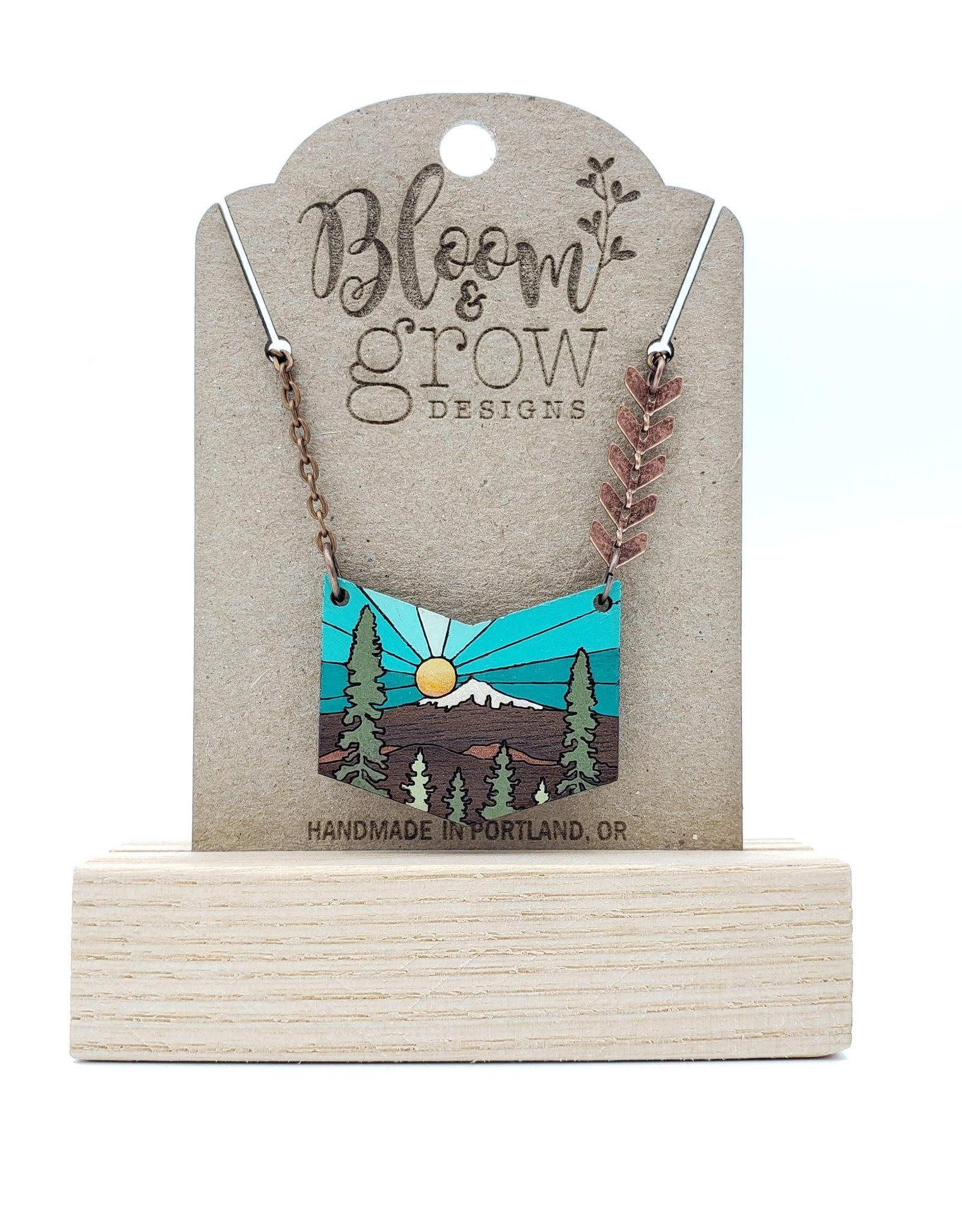 Bloom & Grow Designs Snowcapped Chevron Necklace Sun, Mountain, Forest - Handpainted Wood