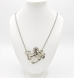 Octopus Necklace - silver tone