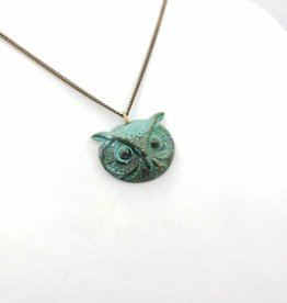 Ornamental Things Night Owl Necklace, Verdigris