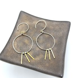 Jenevier Blaine Tiny Triple Dangling Brass Bars and Silver Wire Circle hook