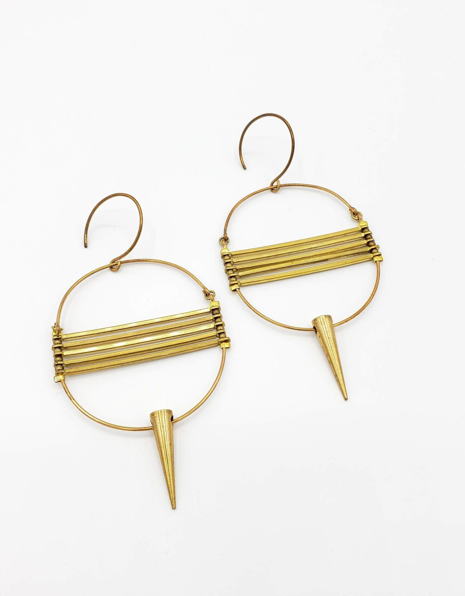 Jenevier Blaine Circular Earrings with Brass Points and Horizontal Bars