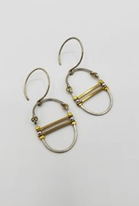 Jenevier Blaine Oval Hinged Silver Hoop with Brass Bars Earrings