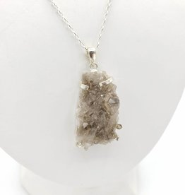Rough Quartz Crystal Necklace, 4-Prong Set Sterling Silver