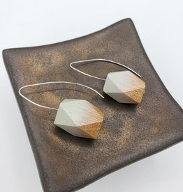 Sylca Designs Grey and Natural Ombre Geometric Wood Bead Silver Plated Hook Earrings