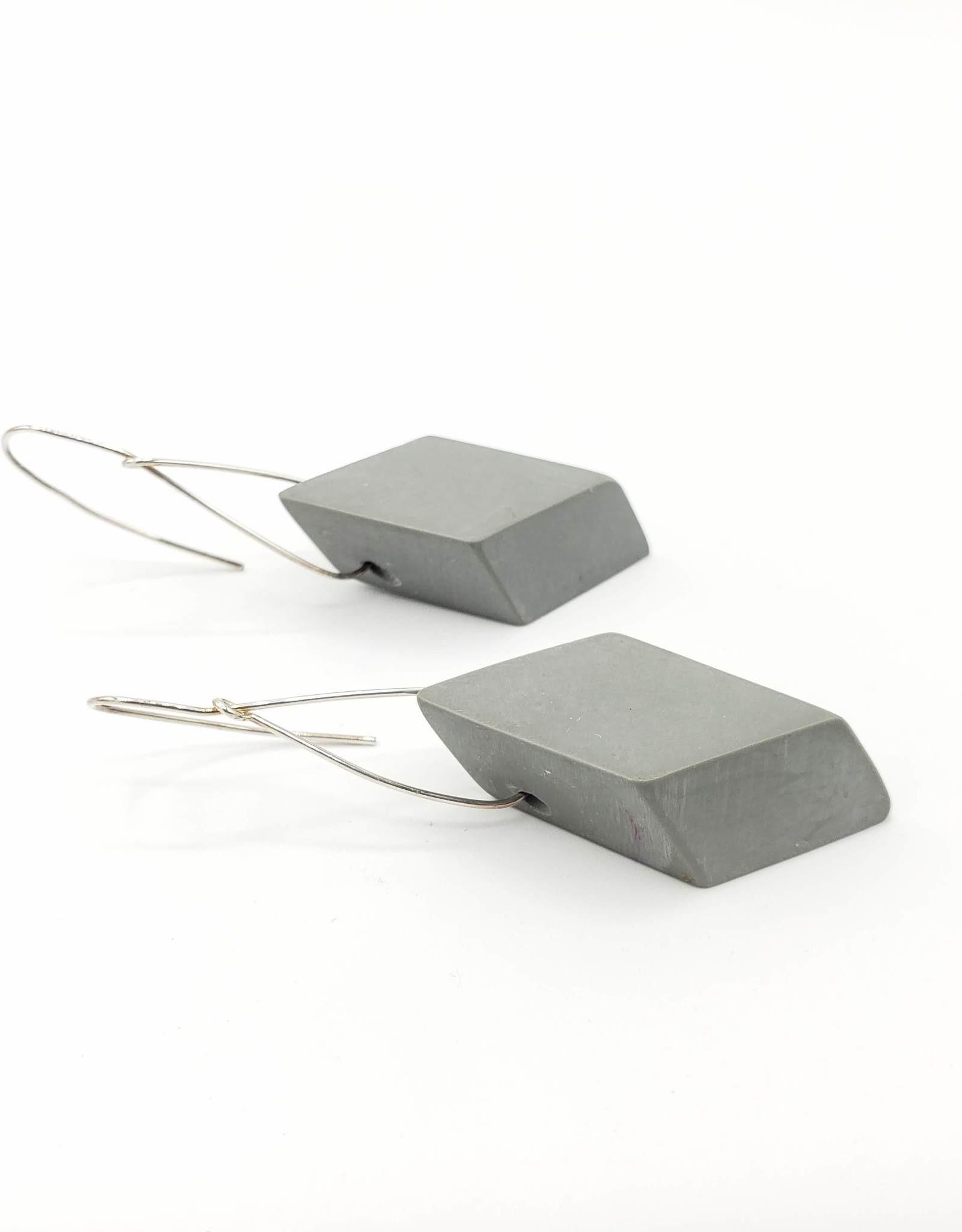 Sylca Designs Sylvie Earrings, Gray Geometric Wood Diamond Shape