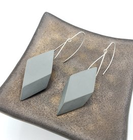 Sylca Designs Sylvie Earrings, Gray Geometric Wood Diamond Shape
