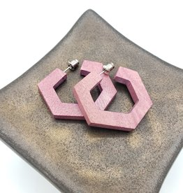 Sylca Designs Pink Wooden Geometric Hoop Earrings