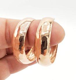 3CM Copper Concave Hammered Hoop Earrings
