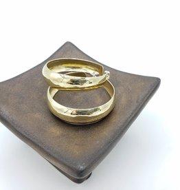 4CM Brass Concave Hammered Hoop Earrings