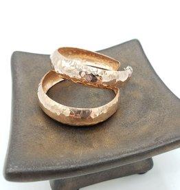 4CM Copper Concave Hammered Hoop Earrings