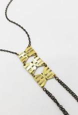 Indigo Alice Zig Zag Necklace, Patterned Brass