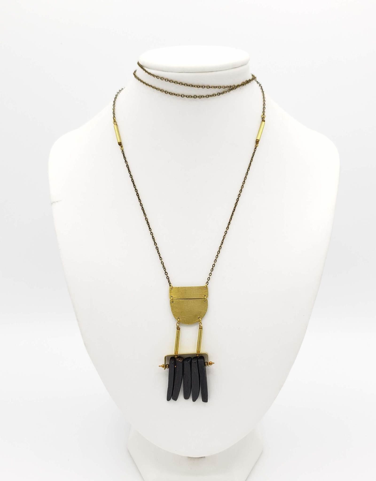 Jenevier Blaine Brass Shield & Black Coconut Shell Necklace
