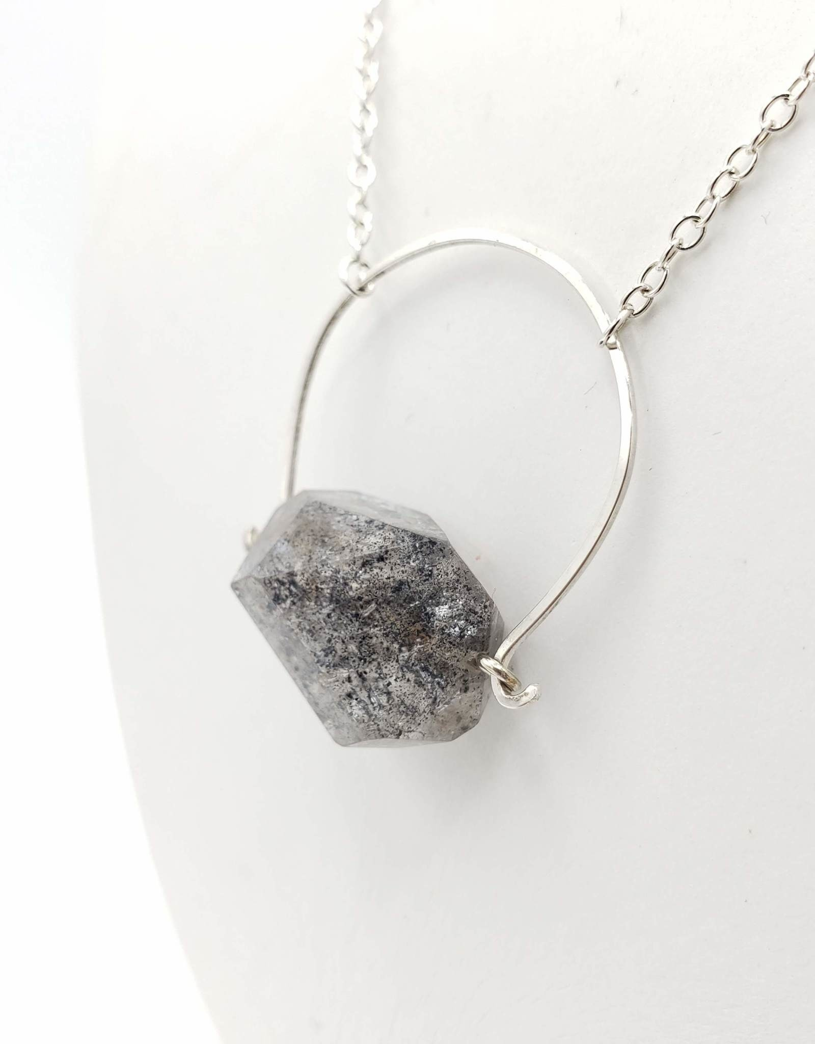 Redux Sterling Wire Horseshoe Necklace with Dark Quartz Crystal
