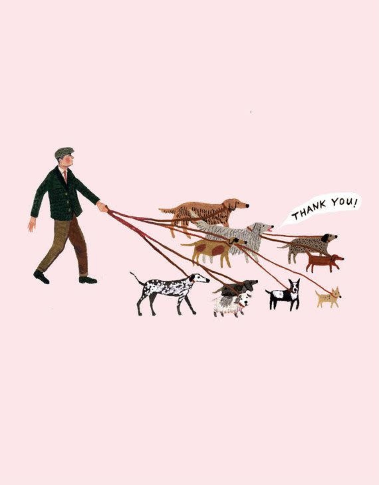 """Thank you"" Dog Walker Greeting Card - Becca Stadtlander"
