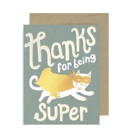 """Thanks For Being Super"" Cat Greeting Card by Allison Cole"