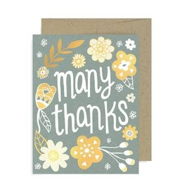 "Allison Cole ""Many Thanks"" Grey Flowers Greeting Card by Allison Cole"