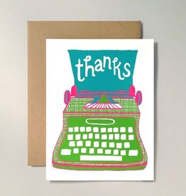 "Allison Cole ""Thanks"" Typewriter Greeting Card by Allison Cole"