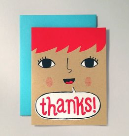 """Thanks"" Redheaded Girl Greeting Card by Allison Cole"