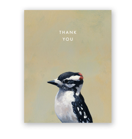 "Mincing Mockingbird ""Downy Woodpecker"" Thank You Greeting Card - The Mincing Mockingbird"
