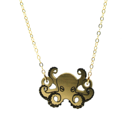 Vinca Octopus Reflective Lasercut Acrylic Necklace, gold fill chain