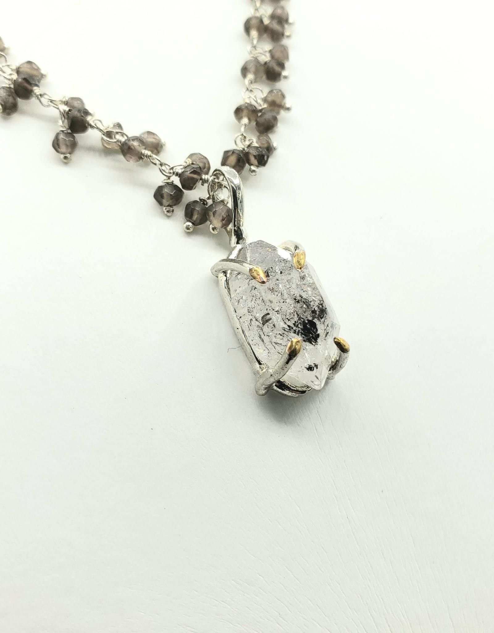 "Redux Herkimer ""Diamond"" 4-prong Caged Pendant with Sterling Wire Wrapped Tiny Iolites"