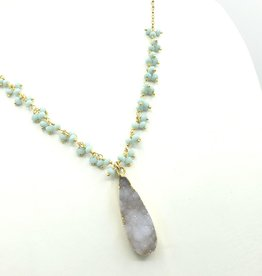 Druzy White Quartz Teardrop, Tiny Faceted Pastel Clusters on Gold Fill Chain