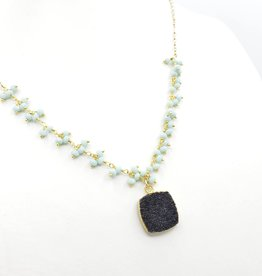 Druzy Black Quartz Square, Tiny Faceted Pastel Clusters on Gold Fill Chain