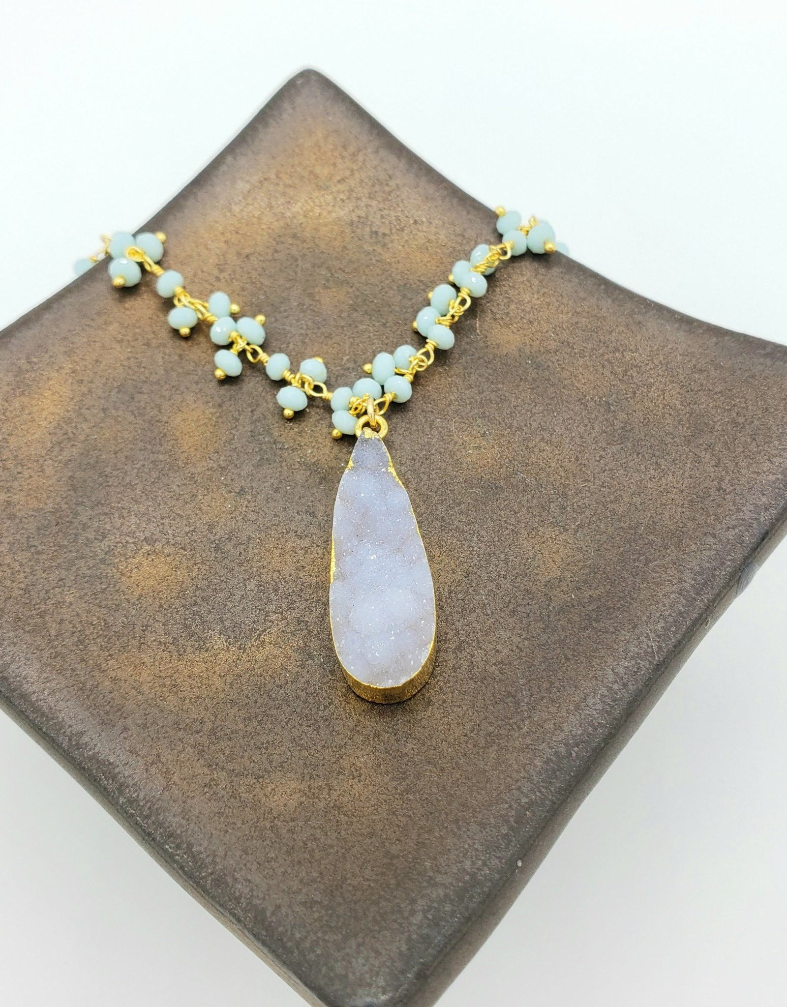 Redux Druzy White Quartz Teardrop, Tiny Faceted Pastel Clusters on Gold Fill Chain