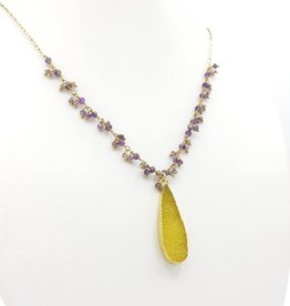 Druzy Yellow Quartz Teardrop, Tiny Faceted Iolite Clusters on Gold Fill Chain