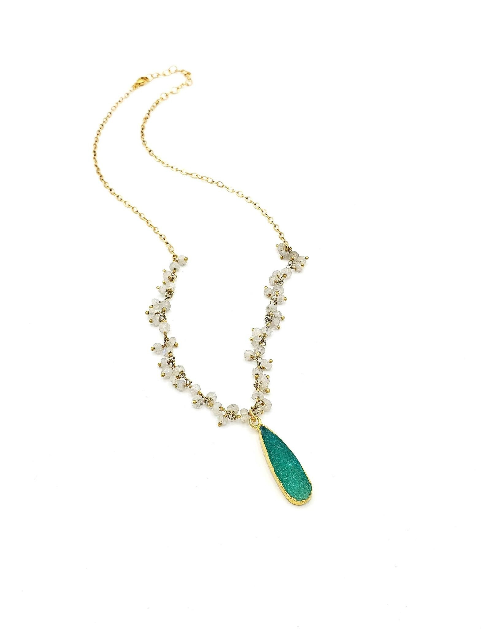 Redux Druzy Green Quartz Teardrop, Tiny Faceted Moonstone Clusters on Gold Fill Chain