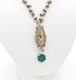 Redux Vintage Watch, Druzy Green Quartz Hexagon, Tiny Faceted Iolite Clusters on Sterling Silver Chain