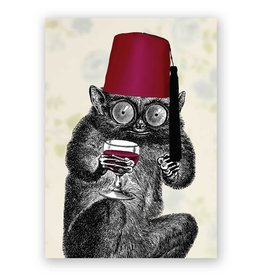 Mincing Mockingbird Slow Loris in a Fez Greeting Card - The Frantic Meercat