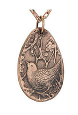 Tiger Mountain Bird with Cherry Blossoms Teardrop Necklace, Copper