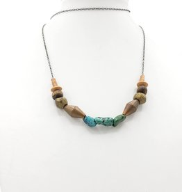 Redux Turquoise, Wood and Vintage Brass Bead Necklace
