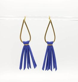 Mishakaudi Teardrop Fringe Colbalt Blue Earrings