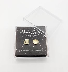 Butt Earrings, White Gold plated Post by Boss Dotty