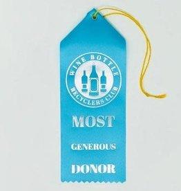 """Wine Bottle Recyclers Club""; Award Ribbon"