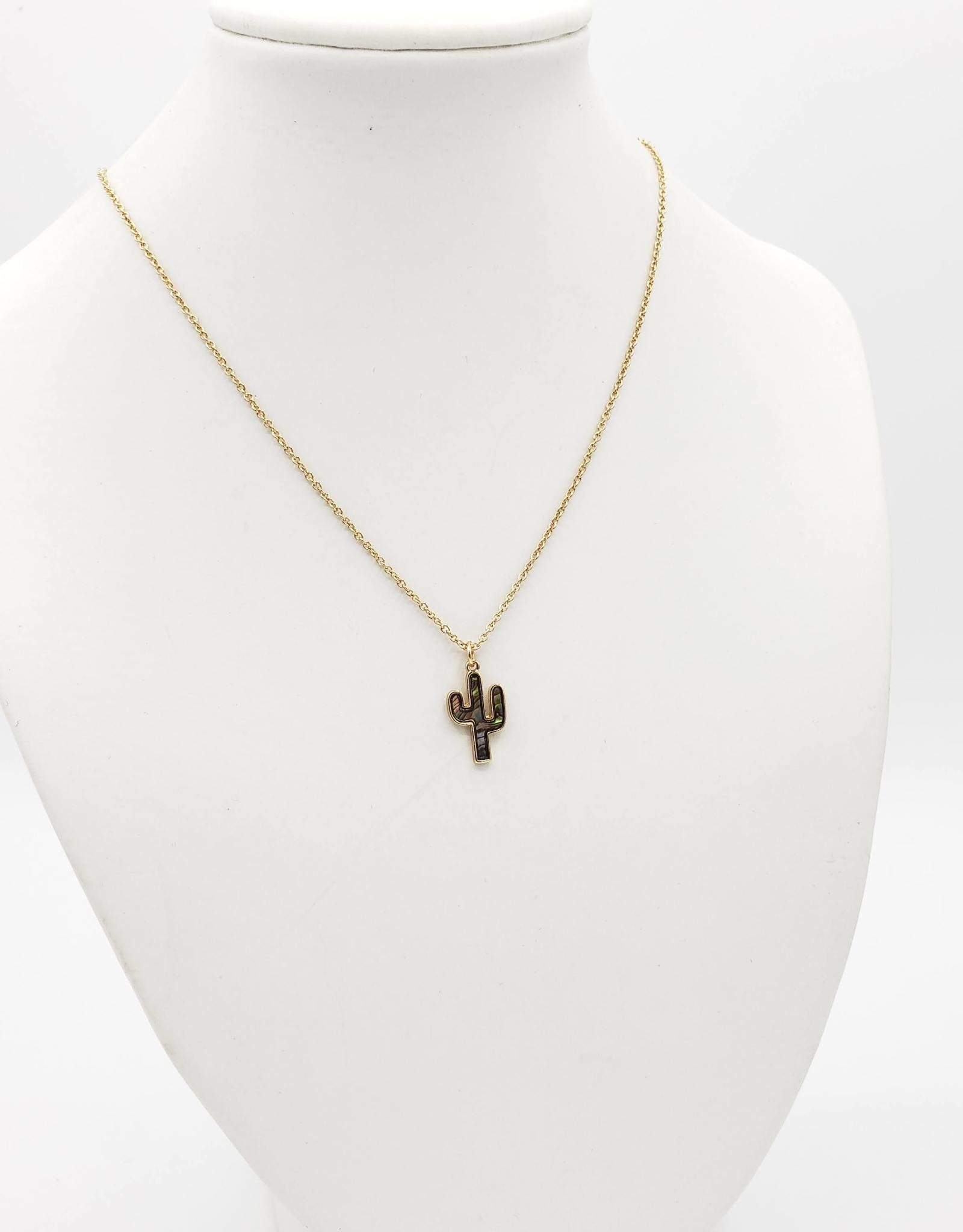 Shell Cactus Necklace, Gold plated