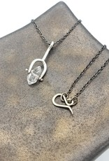 """Long Sterling Spinner Necklace with Herkimer """"Diamond"""""""