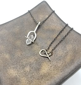 "Long Sterling Spinner Necklace with Herkimer ""Diamond"""