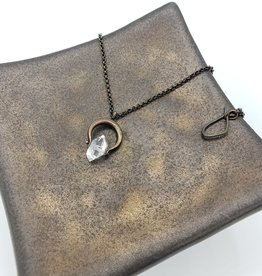"""Small Brass Spinner Necklace with Herkimer """"Diamond"""""""