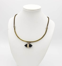 Necklace Dotted Brass Bar Collar with Obsidian Double Point