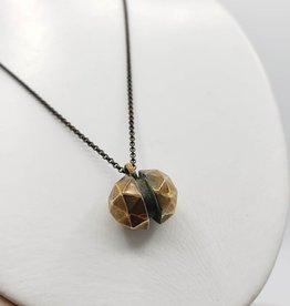Faceted Geometric Bronze Pendant, Long Antiqued Brass Chain