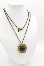 Blue Goldstone (Glass) Orb Necklace Rivet-Set Brass