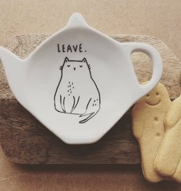 """Leave"" Antisocial Cat Tea Bag Dish / Spoon Rest"