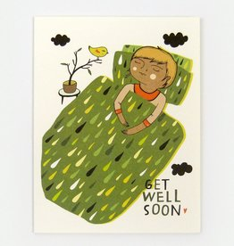 """""""Get Well Soon"""" Greeting Card - Red Cap"""