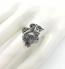 Tiger Mountain Fancy Cat Ring; Sterling Silver & Faux Marcasite