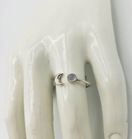 Tiger Mountain Open Crescent Moon with Moonstone Ring, Sterling Silver