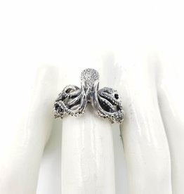 Tiger Mountain Crawling Octopus Ring, Sterling Silver